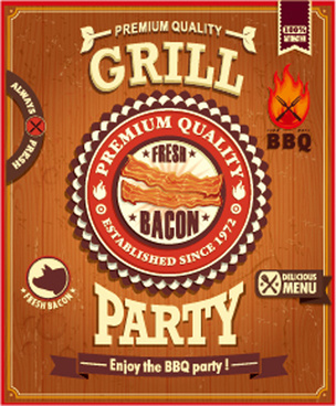 retro grill party poster vector