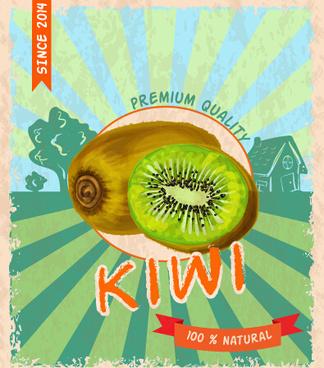 retro grunge kiwi poster vector