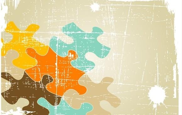 puzzle background colorful retro grunge style