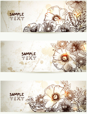 retro hand drawn flower banner vector graphic