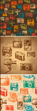 retro hand drawn recorder with tv and camera vector patterns