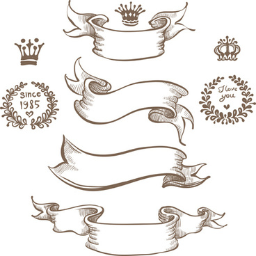 retro hand drawn ribbon with ornaments vector
