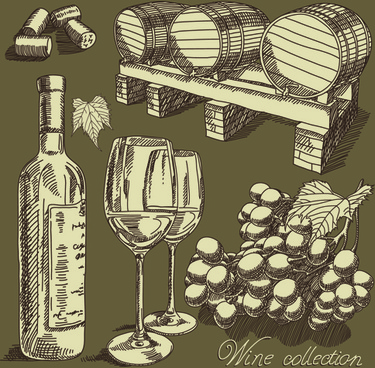 retro hand drawn wine elements vector collection