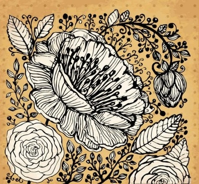 retro hand drawning flowers background vector