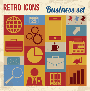 retro icons business vector