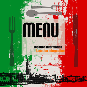 retro italian menu design vector set