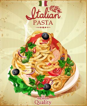 retro italian pasta menu cover vector