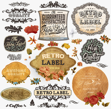 retro label ornament with flower vector