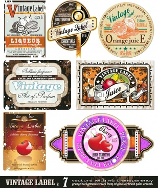 vintage labels templates colorful shapes design fruits decor