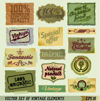 retro labels and accessories vector set
