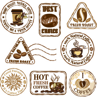 retro labels and stickers coffee vector