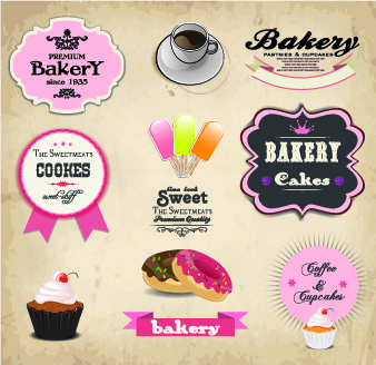 retro labels ribbons vector set
