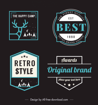 retro labels templates flat dark shapes design