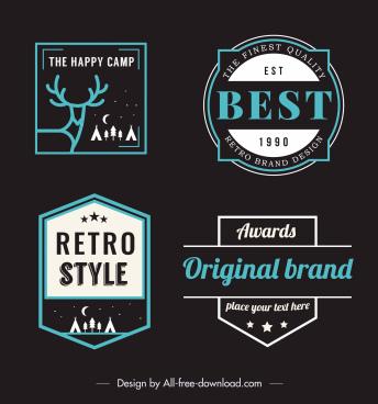retro labels templates flat dark shapes design