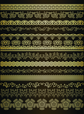 retro lace borders vector set