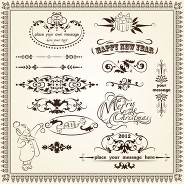 retro lacy borders set vector