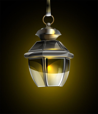 retro lamp vector
