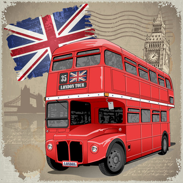 retro london background with red bus vector