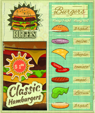 retro menu vector template