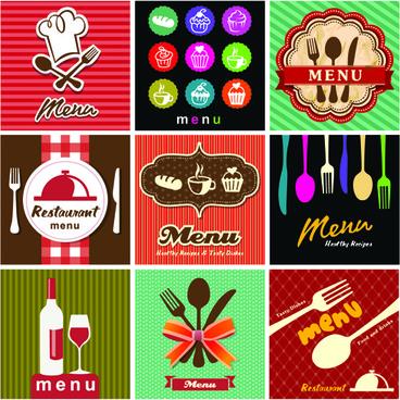 retro menu with labels vector