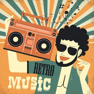 retro music background man casette notes icons decor