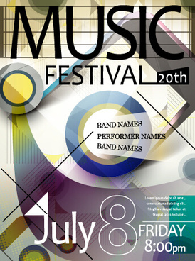 retro music concert flyer cover design vector