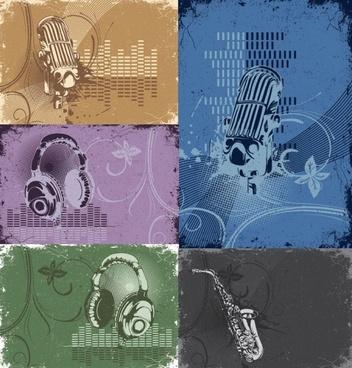 retro music theme vector