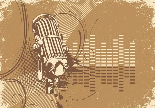 music background microphone icon retro grunge design