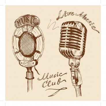 music design elements retro microphone icons handdrawn sketch