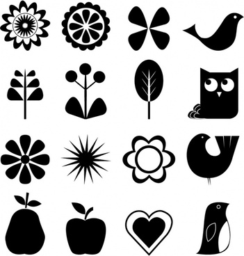 Retro nature icon set