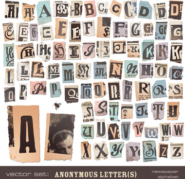 retro newspaper alphabet vector graphics
