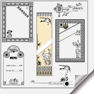 retro object decorative ornaments frames vector