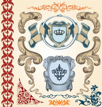 retro ornaments and frames vector art set