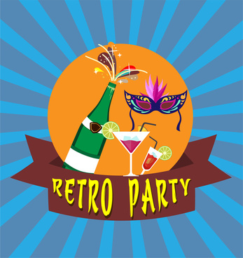 retro party banner design with colorful illustration