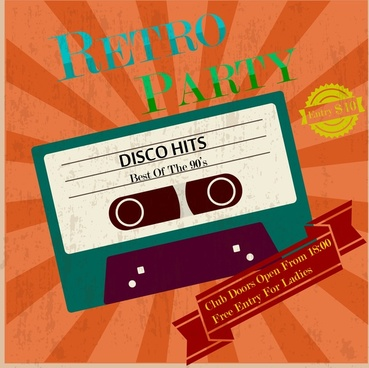 retro party poster vintage tape and ribbon design