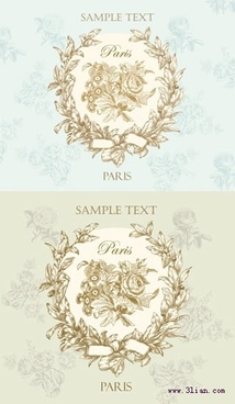 decorative pattern elegant retro wreath icon