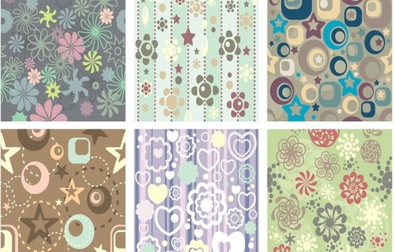 flowers stars background sets colorful classical ornament