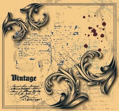ancient document background european vintage grunge design