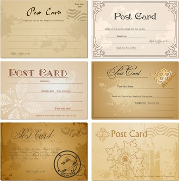postcard templates elegant colored retro blurred decor