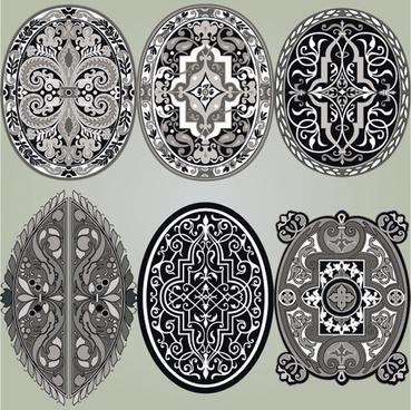 retro patterns with frameworks design elements vector