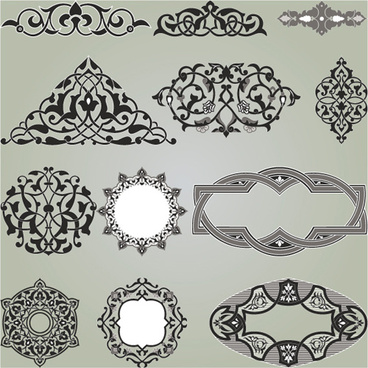 retro patterns with frameworks design elements vector