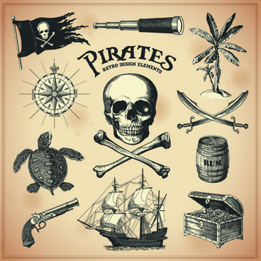 retro pirates elements vector design