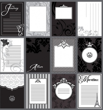card background templates elegant classic black white european