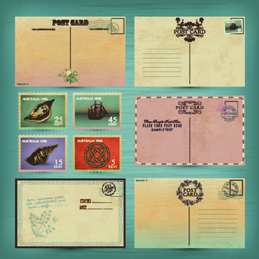 retro postcards and postage stamps design vector