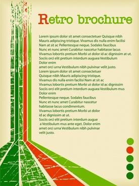 brochure template retro grunge green red 3d decor