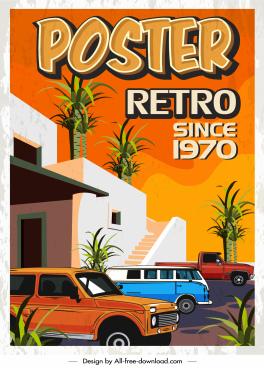 retro poster template cars architecture sketch