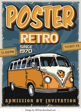 retro poster template handdrawn classical bus sketch