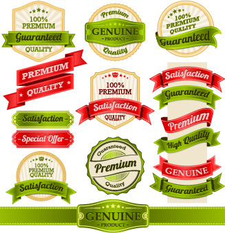 retro premium quality ribbon labels vector