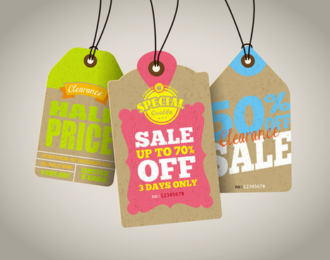 retro price sale tags vector set