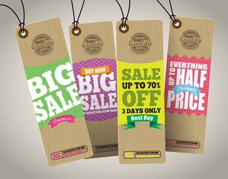retro price sale tags vector set
